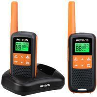 Retevis RT649 Walkie Talkie Lizenzfrei PMR446 Funkgerät Set 16 Kanäle VOX LED Taschenlampe IP65 Wasserdichtes Scan Zwei Lademethoden (Orange, 2 STK.)