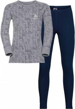Odlo Set Shirt l/s Pants Long Warm Kids (150409) peacoat/grey melange