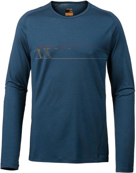 Icebreaker 200 Oasis Deluxe Raglan Long Sleeve Crewe Single Line Ski prussian blue