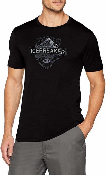 Icebreaker Mens Tech Lite SS Crewe Alpine Crest Black