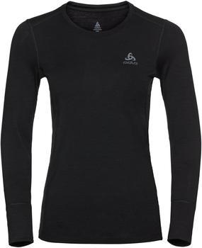 Odlo Women's Natural 100 % Merino Warm Long-Sleeve Baselayer Top black