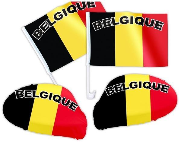 Alsino 4 tlg. Alsino Belgien Wm Fanartikel Auto Fanset Fanpaket AutoflaggenSpiegelüberzug Autofahne