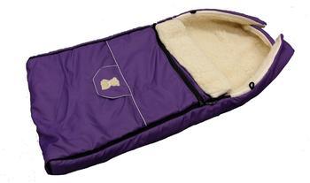 Lux4Kids Babalou Fußsack 103cm XL Winterfußsack mit Bärchen echte Schurwolle Thermofußsack für Buggy Kinderwagen oder Schlitten 28 Violett