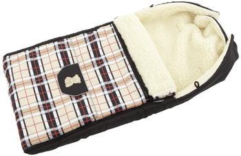 Lux4Kids Babalou Fußsack 103cm XL Winterfußsack mit Bärchen echte Schurwolle Thermofußsack für Buggy Kinderwagen oder Schlitten 25 Karo