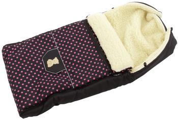 Lux4Kids Babalou Fußsack 103cm XL Winterfußsack mit Bärchen echte Schurwolle Thermofußsack für Buggy Kinderwagen oder Schlitten 21 Schwarz & Rosa Punkte