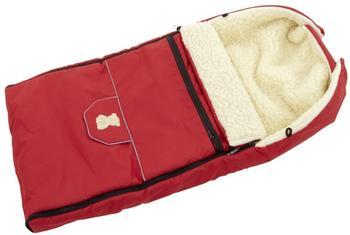 Lux4Kids Fußsack 103cm XL Winterfußsack mit Bärchen echte Schurwolle Thermofußsack für Buggy Kinderwagen oder Schlitten 22 Rot