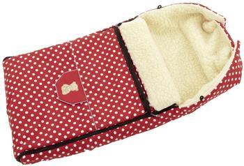 Lux4Kids Babalou Fußsack 103cm XL Winterfußsack mit Bärchen echte Schurwolle Thermofußsack für Buggy Kinderwagen oder Schlitten 20 Rote Punkte