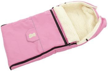 Lux4Kids Babalou Fußsack 103cm XL Winterfußsack mit Bärchen echte Schurwolle Thermofußsack für Buggy Kinderwagen oder Schlitten 13 Rosa