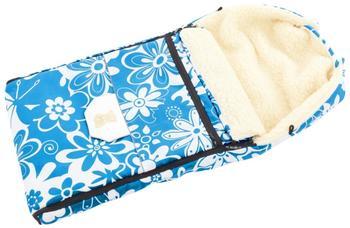 Lux4Kids Babalou Fußsack 103cm XL Winterfußsack mit Bärchen echte Schurwolle Thermofußsack für Buggy Kinderwagen oder Schlitten 11 Aqua Flowers