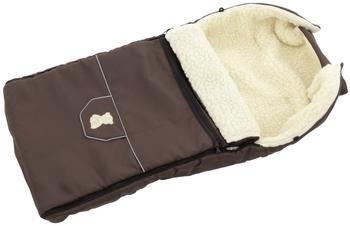 Lux4Kids Babalou Fußsack 103cm XL Winterfußsack mit Bärchen echte Schurwolle Thermofußsack für Buggy Kinderwagen oder Schlitten 12 Braun
