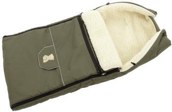 Lux4Kids Babalou Fußsack 103cm XL Winterfußsack mit Bärchen echte Schurwolle Thermofußsack für Buggy Kinderwagen oder Schlitten 09 Oliv