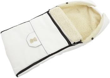 Lux4Kids Babalou Fußsack 103cm XL Winterfußsack mit Bärchen echte Schurwolle Thermofußsack für Buggy Kinderwagen oder Schlitten 05 Weiß & Naht Schwarz