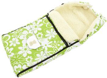 Lux4Kids Fußsack 103cm XL Winterfußsack mit Bärchen echte Schurwolle Thermofußsack für Buggy Kinderwagen oder Schlitten 03 Green Flowers