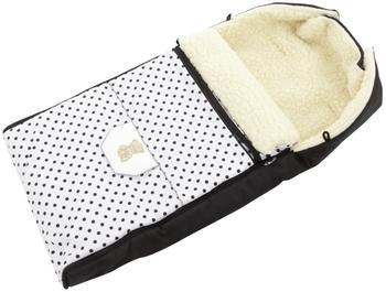 Lux4Kids Babalou Fußsack 103cm XL Winterfußsack mit Bärchen echte Schurwolle Thermofußsack für Buggy Kinderwagen oder Schlitten 04 Schwarz & Weiß & Punkte