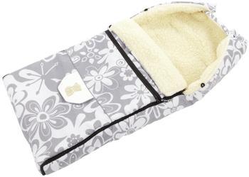 Lux4Kids Babalou Fußsack 103cm XL Winterfußsack mit Bärchen echte Schurwolle Thermofußsack für Buggy Kinderwagen oder Schlitten 02 Grey Flowers