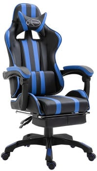vidaXL Gaming Chair PU with Footrest Blue (20216)