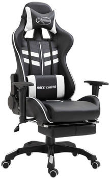 vidaXL Gaming Chair PU with Footrest White (20205)