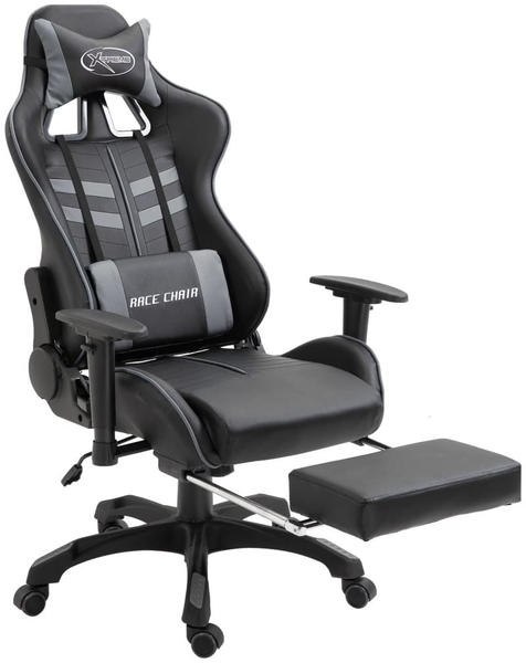 vidaXL Gaming Chair PU with Footrest Gray (20204)