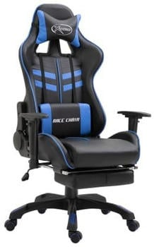 vidaXL Gaming Chair PU with Footrest Blue (20200)
