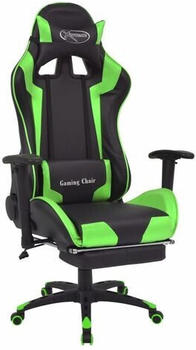 vidaXL Gaming Chair in Leatherette Reclining with Footrest Green