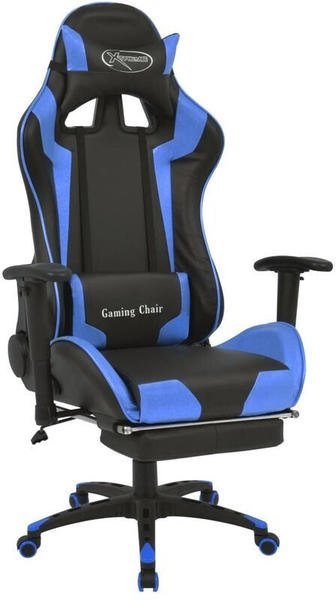 vidaXL Gaming Chair in Leatherette Reclining with Footrest Blue