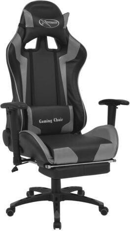 vidaXL Gaming Chair in Leatherette Reclining with Footrest Grey
