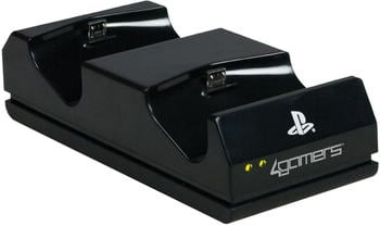 4Gamers PS4 Twin Charging Dock mit Reinigungsset schwarz
