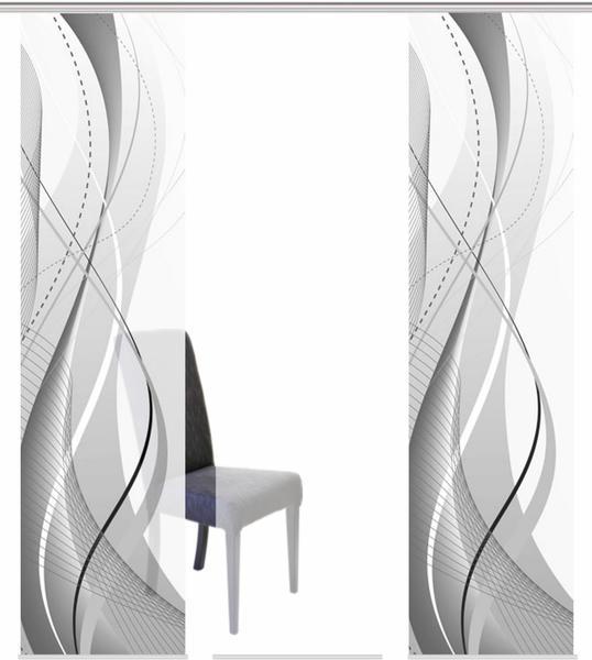 Home Fashion Schiebegardine Wuxi 60x245cm grau (5er Set)