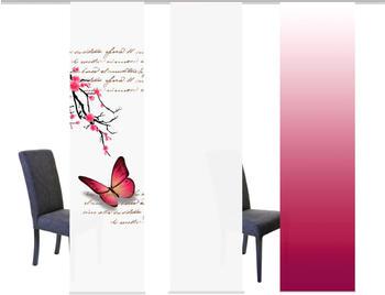 Home Fashion Butterflies 60x245cm 3er fuchsia