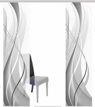 Home Fashion Schiebegardine Wuxi 60x245cm grau (3er Set)