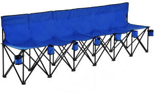Outsunny Campingbank Faltbank Gartenbank Klappbank Bank Camping 6-Sitzer mit Tragetasche, Oxford+Metall, Blau,