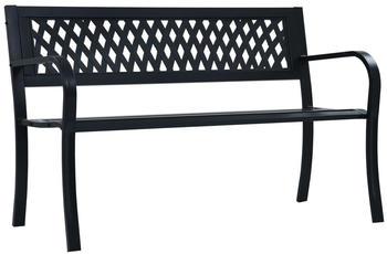 vidaXL Garden Bench in Black Steel 125 cm
