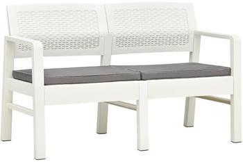 vidaXL Garden Bench in White Plastic With Cushions