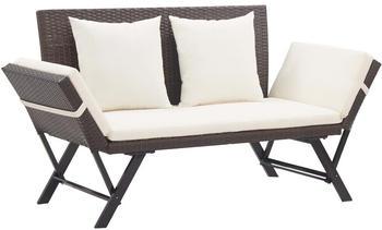 vidaXL Garden Bench With Cushions Brown Resin 176 cm