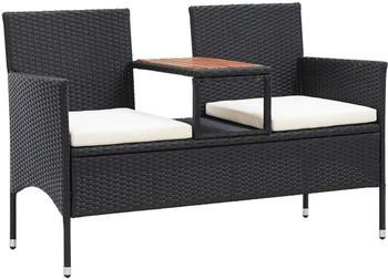 vidaXL 2-Seater Garden Bench with Table Resin Black