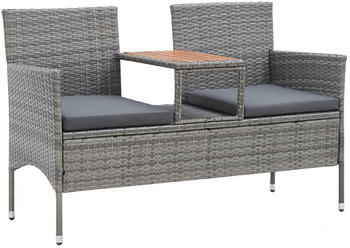vidaXL 2-Seater Garden Bench with Table Resin Grey