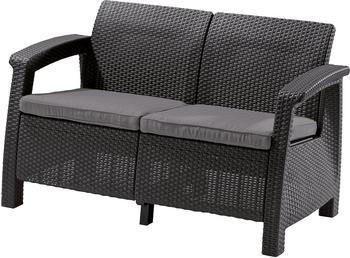 Allibert CORFU LOVE SEAT 2-Sitzer Sofa 128x70x79cm graphit/grau