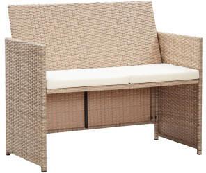 vidaXL 2-Sitzer-Gartensofa mit Polstern Beige Poly Rattan (46396)