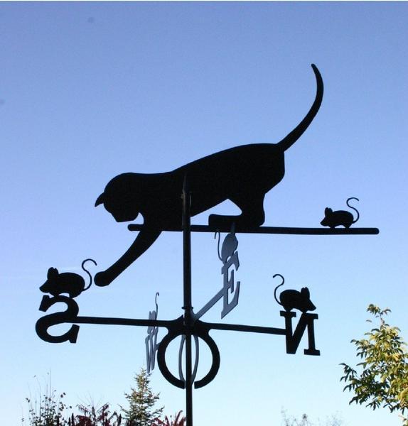 SvenskaV Wetterfahne Katze schwarz groß