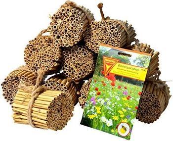 Luxus-Insektenhotels Schilfrohrhalme-Set plus Samenmischung Bienenparadies