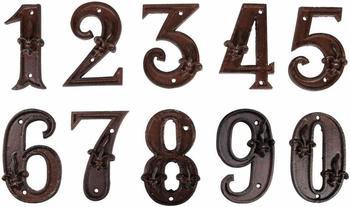 Esschert Hausnummer 123 mit Lilien Muster in antikbraun