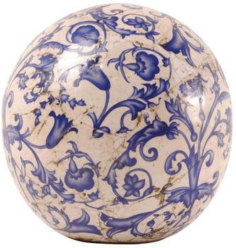 Esschert Gartenkugel Keramik blau-weiß Größe S Ø 13 cm (2 Stk)