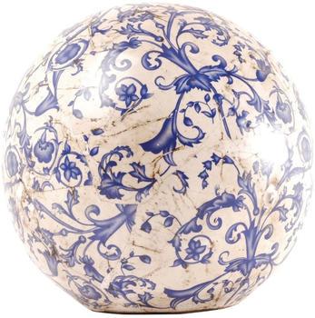 Esschert Gartenkugel Keramik blau-weiß Größe L Ø 18 cm (3 Stk)