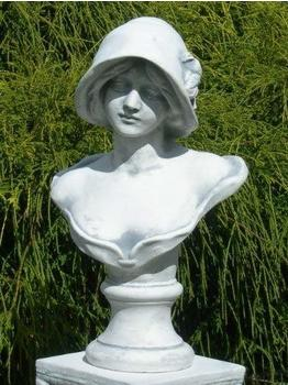 JS-GartenDeko Beton Figur Büste Frau mit Hut (H 39 cm)