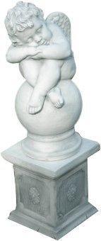 JS-GartenDeko Skulptur schlafender Engel auf Säule H: 68 cm aus Beton