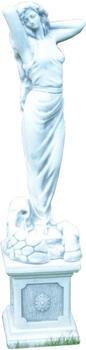 JS-GartenDeko Betonfigur Frau als Wasserspeier auf klassischer Säule