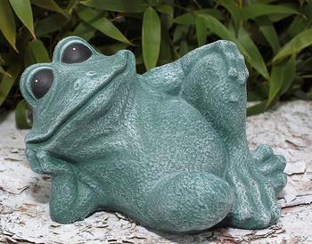 Tiefes-Kunsthandwerk Frosch Steinguss sitzend