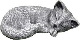 Tiefes-Kunsthandwerk Steinfigur Katze schlafend