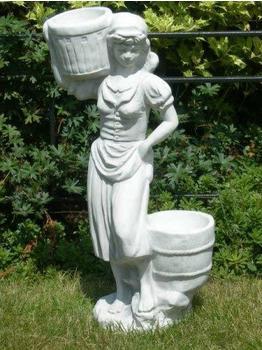 JS-GartenDeko Figur junge Frau mit Pflanztöpfen (H 50 cm)