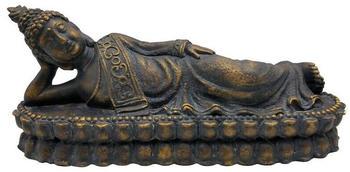 Dehner Magnesia-Buddha liegend 62,5x18x26cm Dunkelbraun/Gold